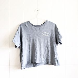 Urban Nation Distressed Cropped Graphic Tee